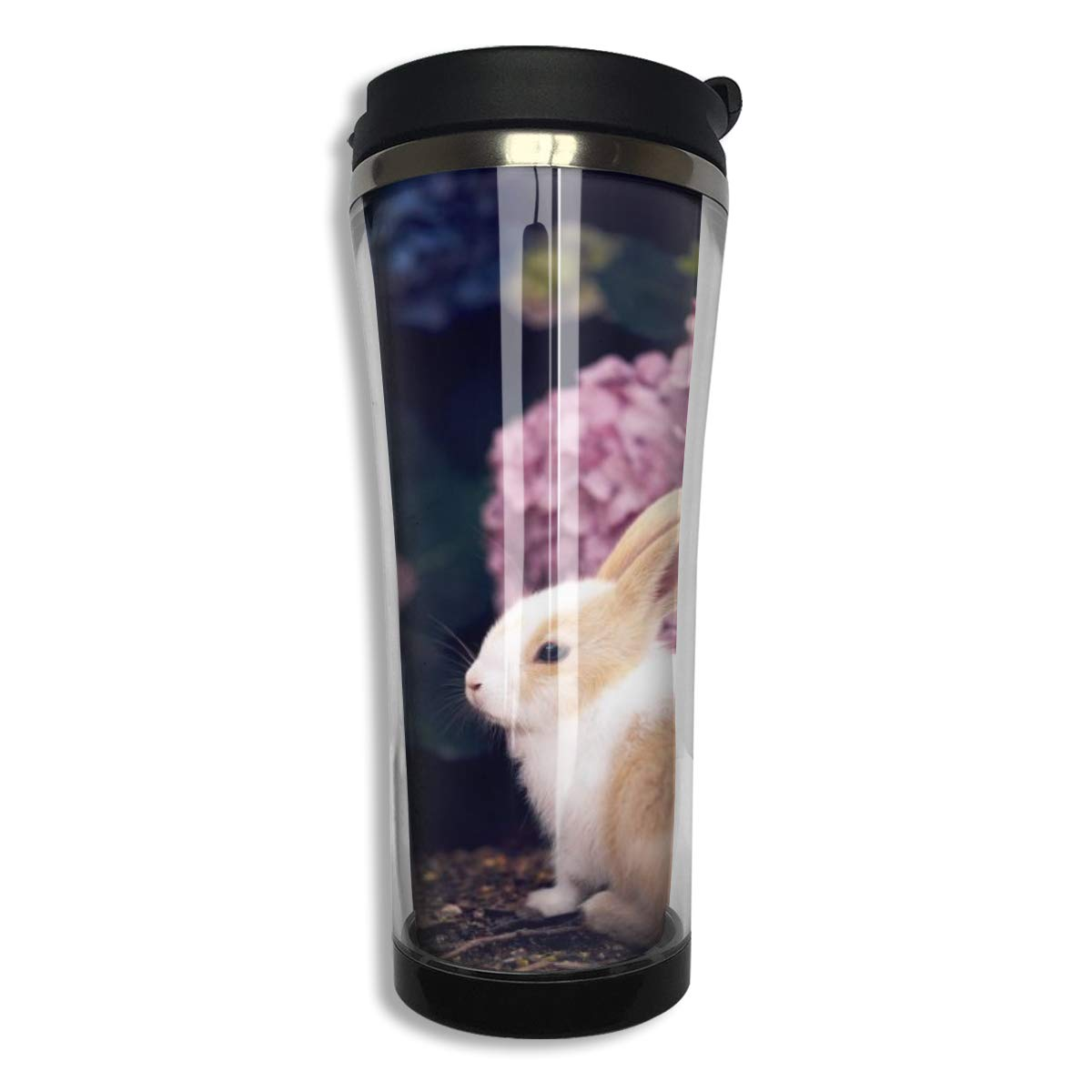 NiYoung Stainless Steel Thermal Water Coffee Cup for Cold & Hot Drinks, Rabbit Hydrangea Travel Mug Double Wall Vacuum Insulated Tumbler with Leak Proof Lid