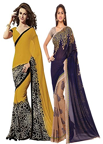 ANAND SAREES MULTI COLORED GEORGETTE PRINTED SAREES (COMBO PACK)