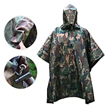 Poncho military - iRegro Waterproof Outdoor Portable Camping Tent Rain Cover, Multifunctional Raincoat Poncho for Camping Hunting Hiking Riding