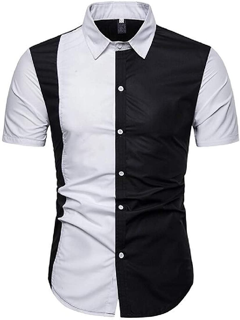 Fubotevic Mens Slim Fit Short Sleeve Casual Business Contrast Button Down Dress Work Shirt