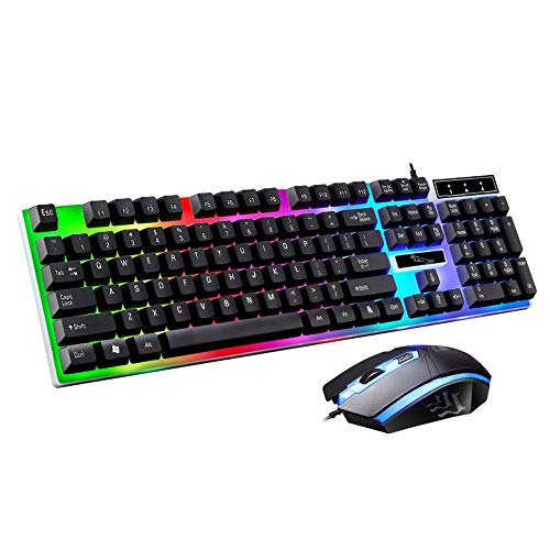 HAHAP Gaming Keyboard and Mouse ComboLED Rainbow Color Backlight Adjustable Gaming Game USB Wired Keyboard Mouse Set