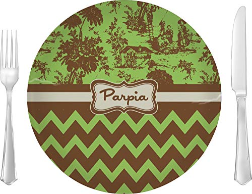 Green & Brown Toile & Chevron Glass Lunch/Dinner Plate 10
