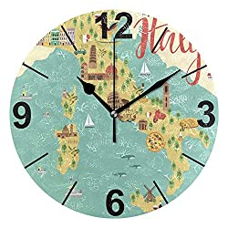 ALAZA Italian Map with Animals and Landmarks Round Acrylic Wall Clock, Silent Non Ticking Oil Painting Home Office School Decorative Clock Art