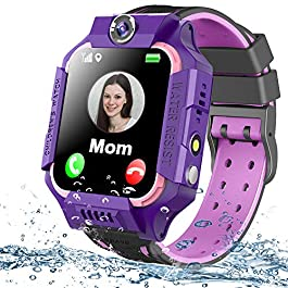 Kids Smart Watch Phone Waterproof GPS Tracker for Girls Boys 4-12 Age, Kids Phone Watch with 2 Way Call SOS Emergency…