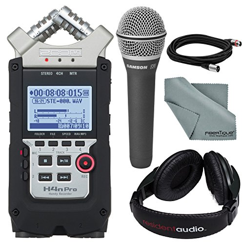 Zoom H4n PRO Four-Track Handy Audio Recorder along with Samson Q8 Professional Dynamic Vocal Microphone with Xlr Cable and Studio Headphones