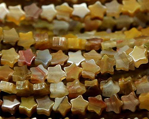 GemAbyss Beads Gemstone 1 Strands Natural Brown Yellow Petrified Wood Jasper Flat Star Shape Small Loose Jewelry Sets Beads 6mm 03152 -