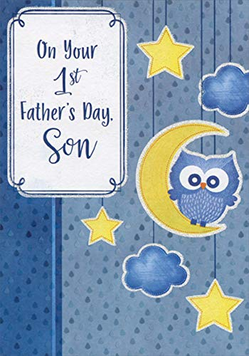 Designer Greetings Cute Blue Owl on Yellow Crescent Moon 1st Father's Day Father's Day Card for Son