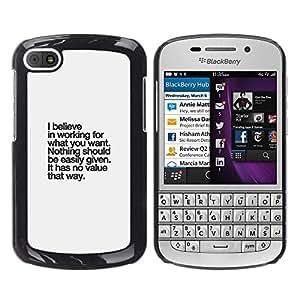 Caucho caso de Shell duro de la cubierta de accesorios de protección BY RAYDREAMMM - BlackBerry Q10 - Inspirational Text Inspiring