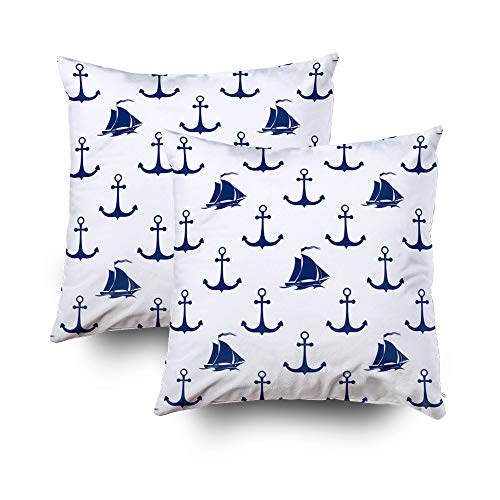 ROOLAYS Decorative Throw Square Pillow Case Cover 16X16Inch,Cotton Cushion Covers Halloween Maritime Pattern Blue Sailing Both Sides Printing Invisible Zipper Home Sofa Decor Sets 2 PCS Pillowcase