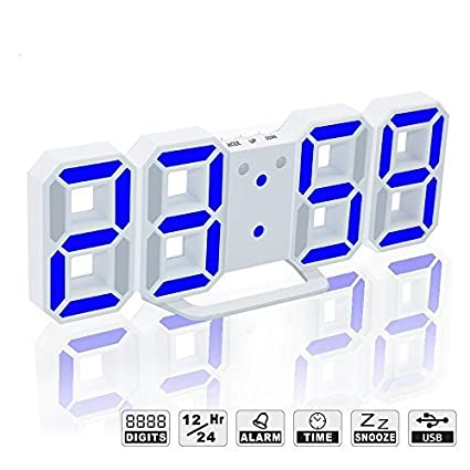 YIKESHU 3D Despertador Digital, LED Despertador Electrónico, Reloj Digital Moderno, Reloj de Pared