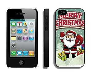Provide Personalized Customized Iphone 4S Protective Skin Case Cartoon Santa Claus iPhone 4 4S Case 4 Black