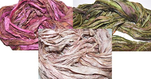 3X10 yards 3 colors Sari Recycled Ribbon Silk Yarn Jewelry Gift Wrap Fair Trade Fiber MixA03