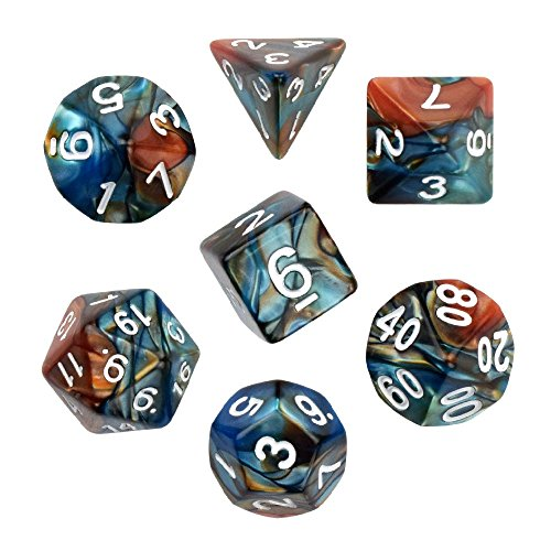 (Dark Green Brown Gemini Glowing Polyhedral 7-Die RPG Dice Set Galaxy Dnd Dice Set D20 D12 D10 D8 D6 D4 for Dungeons and Dragons wit Pouch)