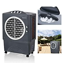 Honeywell Powerful Outdoor Portable Fan, Long-Lasting Honeycomb Pads on 3 Sides & Copper Continuous Water Supply Connection Evaporative Cooler, 1647 CFM, Gray