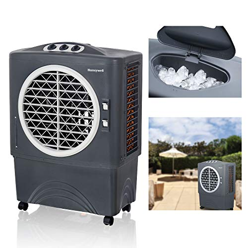 Honeywell Powerful Outdoor Portable Evaporative Cooler with Fan, Long-Lasting Honeywell Honeycomb Padson 3 sides & Copper Continuous Water Supply Connection, CO48PM