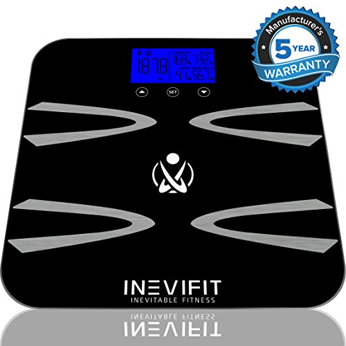 Measure Body Fat Composition (INEVIFIT BODY-ANALYZER SCALE, Highly Accurate Digital Bathroom Body Composition Analyzer, Measures Weight, Body Fat, Water, Muscle, BMI, Visceral levels & Bone Mass for 10 Users. 5-Year Warranty)