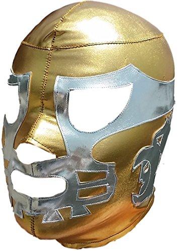 [Canek Lycra Lucha Libre Luchador Mask Adult Size Gold/Silver] (Custom Wrestling Costumes)