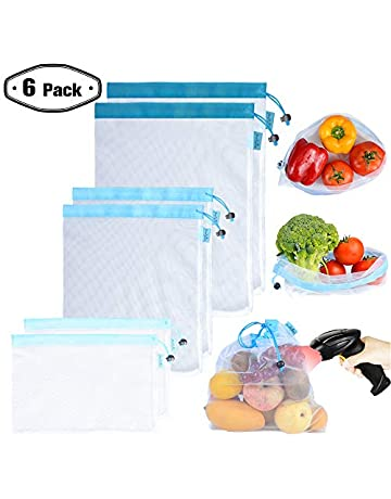 5bd738957 Reusable Mesh/Produce Bags (Lightweight, See-Through by PrettyCare) Double-