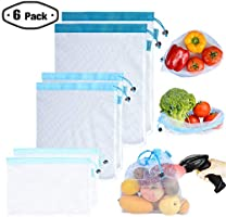 Reusable Cotton Mesh/Produce Bags (Lightweight, See-Through by PrettyCare) Superior Double-Stitched Strength Bags with...