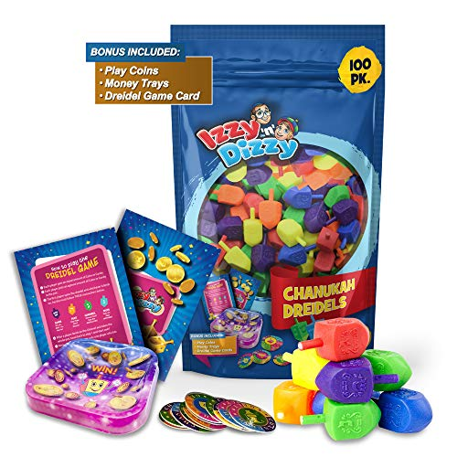 Izzy 'n' Dizzy 100 Medium Dreidels – Assorted Colors – Classic Chanukah Spinning Draidel Game and Prize – Bulk Value…