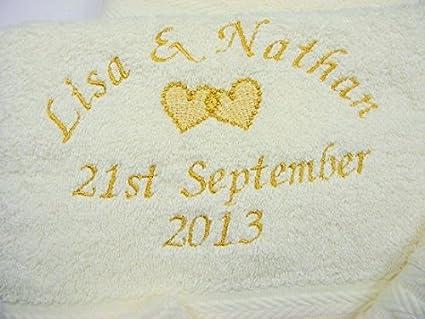 Personalizado 6 piezas Juego de toallas algodón egipcio de aniversario de boda compromiso 2 baño 2