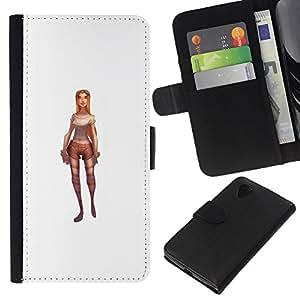 KingStore / Leather Etui en cuir / LG Nexus 5 D820 D821 / Jeu de caractères Pc blanc 3D