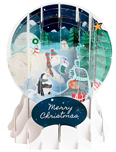 3D Pop Up Arctic Animals Medium Snowglobe Christmas Card Snowglobe Christmas Cards