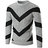 Challyhope Men's Autumn Winter Slim Fit Ripple Wool Sweater Knitwear Jumper Pullover