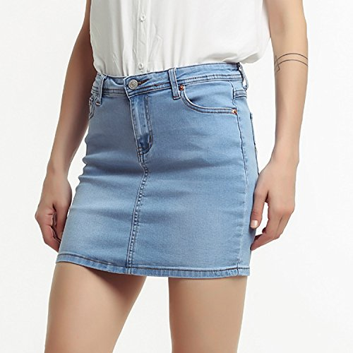 Jupe Coupe Taille Jeans Grande Haute Slim Taille Mini Casual Startreene Clair en Denim Courte Crayon Jupe Stretch Femme Bleu dxdqX0