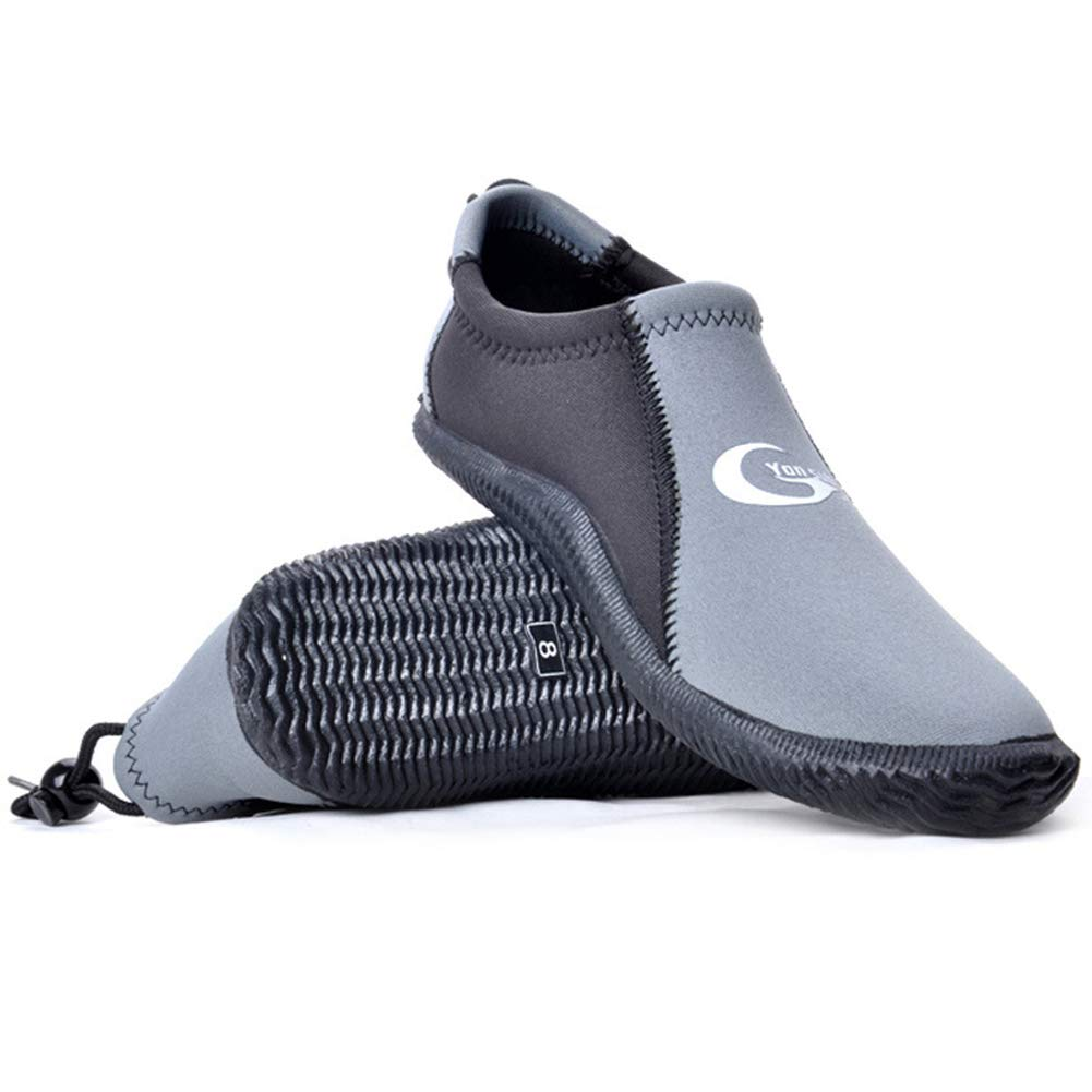 Dive Boots Neoprene Wetsuit Booties Scuba Diving Booties 3MM 5MM for Men Women, Fin Booties Quick-Dry Anti-Slip Water Sports Boots for Surfing Fishing Kayaking (3mm Grey, US Men's 8 / US Women's 9) by Skyone