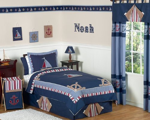 Sailboat Toddler Bedding (Sweet Jojo Designs 3-Piece Nautical Nights Boys Sailboat Children's Bedding Full / Queen Set)