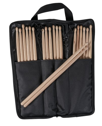 10 Pairs USA Made 5B Wood Tip Drumsticks with Onstage Stick Bag Package