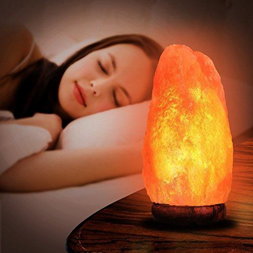 PULNDA Himalayan Salt Lamp PULNDA Glow Natural Hand Carved Rock Salt Lamp With Neem Wood Base/Bulb And Dimmer Control, Crystal, Amber, 8 - 9-Inch For Lighting, Decoration And Air Purifying by PULNDA (Image #5)