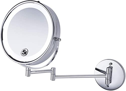 Makeup Mirror 8-Inch LED Double-Sided 5X Magnifying Hotel Bathroom Foldable 360-Degree Rotating Wall Mirror