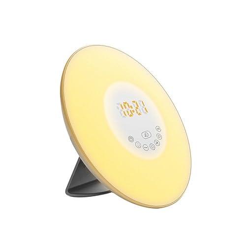 SHHE Radio Alarm Clock Sunrise Sunset Simulation Wake Up Light Bedside Lamp Colourful Night Light (6 Sound, FM Radio, Snooze Function,Touch Control)