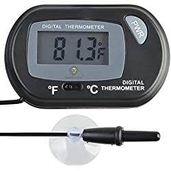 SunGrow LCD Digital Betta Thermometer, 2.3x1.5 Inches, Accurately Reads Tank Water Temperature, Maintains Betta's Native Habitat, Comes with 2 Suction Cups and Battery