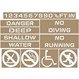 ComplianceSigns Plastic Swimming Pool / Spa Stencil Kit, 4 Inch