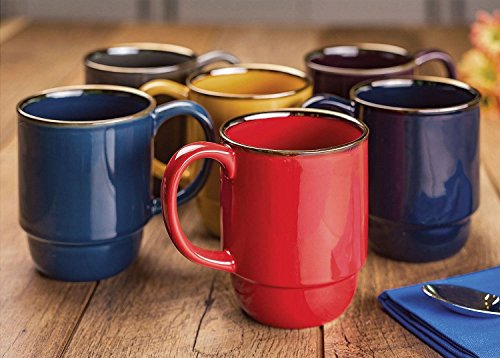 Stoneware Stacking Mugs, Set of 6