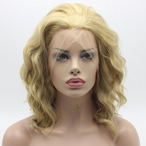 Lace Front Synthetic Wig Medium Length Curly 14inch Three Tone Honey Blonde Mix Wig Stylish Wig ()