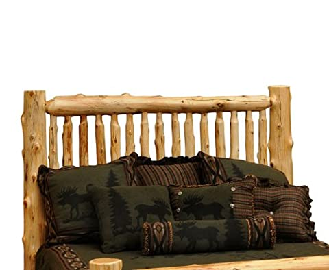 Fireside Lodge Furniture Traditional Cedar Hand Crafted and Hand Lacquered Northern White Cedar Small Spindle Log Queen Size Headboard, Traditional Cedar, Queen Size Headboard - Lodge Bedroom Furniture