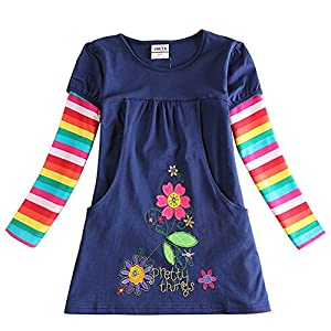 VIKITA Toddler Flower Girl Dress Cotton Long Sleeve Navy Baby Girls Wedding Party Birthday Dresses for 2-8 Years