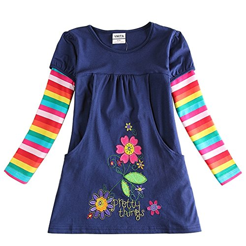 VIKITA toddler girl flower dress cotton long sleeve H5802NAVY little girls dresses 7-8 (Dresses For Girls Size 7 8)