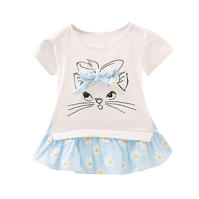 QinMM Vestido Floral del Gato de La Historieta de Bebé Niñas ...