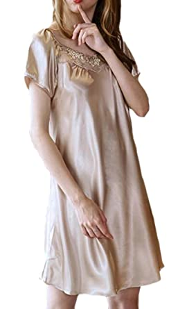 755c33fda190 Hajotrawa Womens Silky Sleep Dresses Sleepwear Sexy Lace Short Sleeve Satin  Nightgowns Light Tan XS