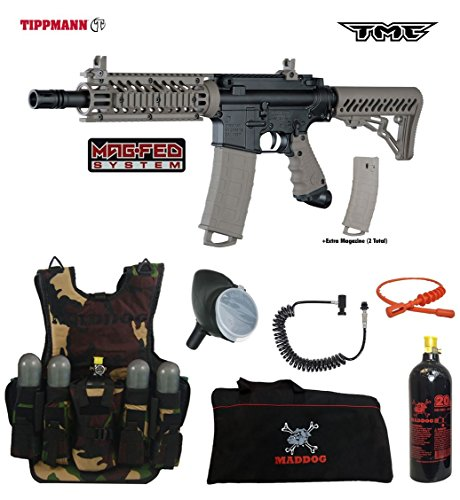Tippmann TMC MAGFED Lieutenant Tactical Camo Paintball Gun Package - Black/Tan Tank Harness Camo
