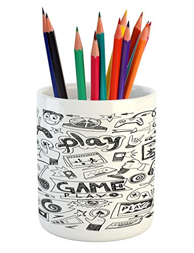 Racing Ceramic - Ambesonne Video Games Pencil Pen Holder, Monochrome Sketch Style Gaming Design Racing Monitor Device Gadget Teen 90's, Printed Ceramic Pencil Pen Holder for Desk Office Accessory, Black White