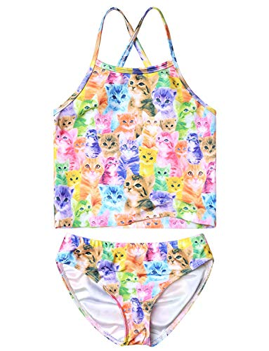 (Rainbow Cat Swimsuits for Girls 6t Two Piece Bathing Suits Kids Beach)