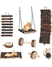 Leeko Hamster Chew Toy, Set Of 8 Natural Wooden Ladder Toy Accessories, Wooden Fence, Bridge, Swing, Climbing Ladder, Bell Roller, Dumbbell, Unicycle and Cone Pine for Guinea Pigs Chinchilla Hamster Mice Parrots