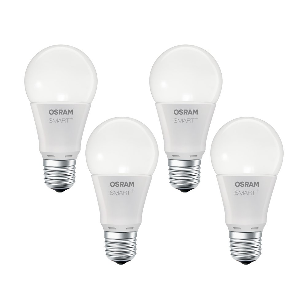Culot E27 /équivalent 60W Dimmable OSRAM Smart+ Lot de 4 Ampoules LED Connect/ées Compatible Android /&  Alexa Blanc Chaud 2700K Forme Standard 8W - Zigbee