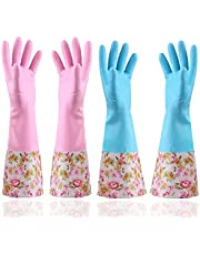 KINGFINGER Rubber Latex Waterproof Dishwashing Gloves,Long Cuff and Flock Lining Household Cleaning Gloves 2 Pair
